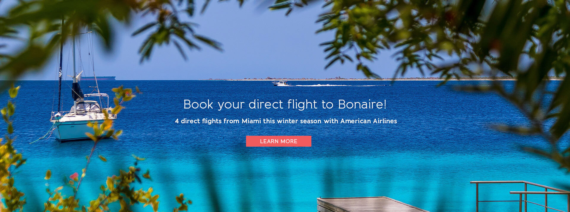 Book your direct flight to Bonaire! 4 direct flights from Miami this winter season with American Airlines. Learn More